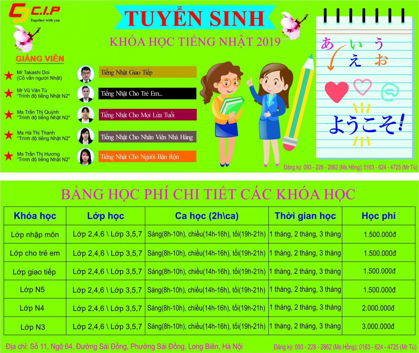 Thông báo tuyển sinh tiếng Nhật tại Sài Đồng, Long Biên, Hà Nội